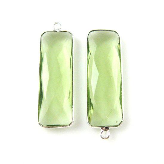 Wholesale Sterling Silver Bezel Charm Pendant - 34x11mm Elongated Rectangle Shape - Green Amethyst Quartz
