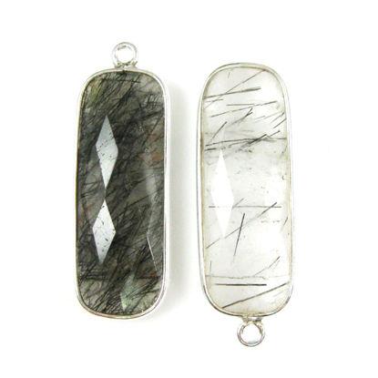 Wholesale Sterling Silver Bezel Charm Pendant - 34x11mm Elongated Rectangle Shape - Black Rutilated Quartz