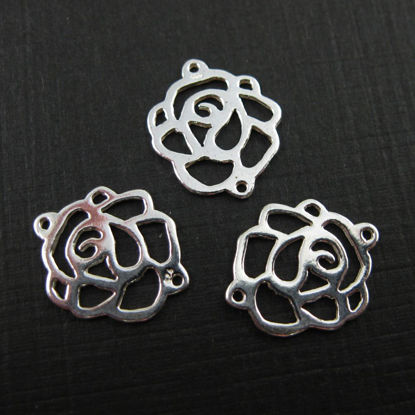 Wholesale Sterling Silver Rose Connector Charm or Chain Link (1 pc)