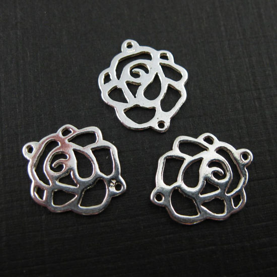 Wholesale Sterling Silver Rose Connector Charm, Charm and Pendants for Jewelry Making, Wholesale Findings
