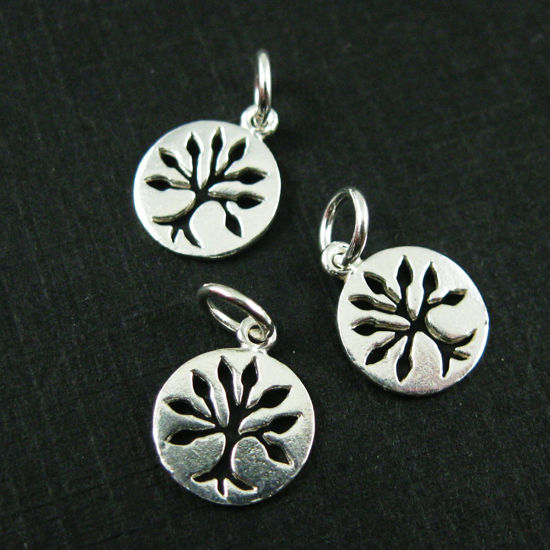 Wholesale 925 Sterling Silver Tiny Tree of Life Coin Charm - 9mm (1 pc)