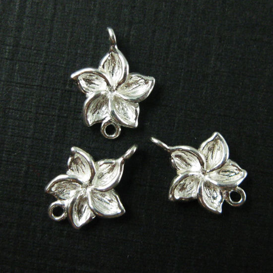 Wholesale Sterling Silver Fragapani Flower Connector  Charms and Pendants for Jewelry Making, Wholesale Findings