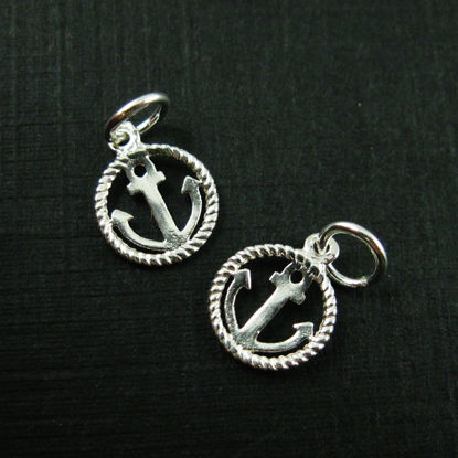 Wholesale Sterling Silver Anchor and Rope Round Charm, Charms and Pendants for Jewelry Making, Wholesale Findings