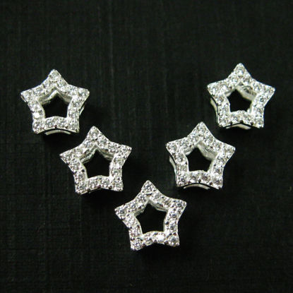 Wholesale Sterling Silver Tiny Star Connector Charm with CZ Stone , Charms and Pendants for Jewelry Making, Wholesale Findings