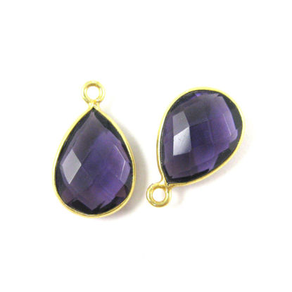 Wholesale Gold plated Sterling Silver Small Teardrop Bezel Amethyst Quartz Gemstone Pendant, Wholesale Gemstone Pendants for Jewelry Making