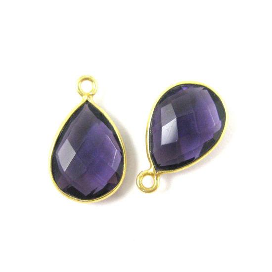 Wholesale Gold plated Sterling Silver Small Teardrop Bezel Amethyst Quartz Gemstone Pendant, Wholesale Gemstone Pendants for Jewelry Making