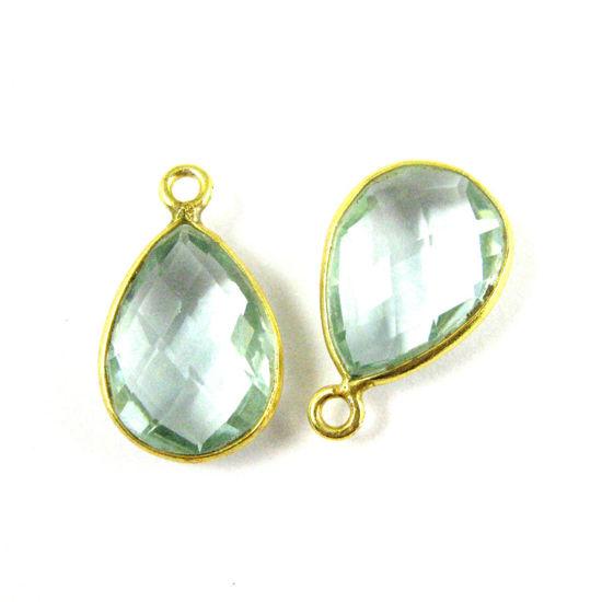 Wholesale Gold plated Sterling Silver Small Teardrop Bezel Aqua Quartz Gemstone Pendant, Wholesale Gemstone Pendants for Jewelry Making