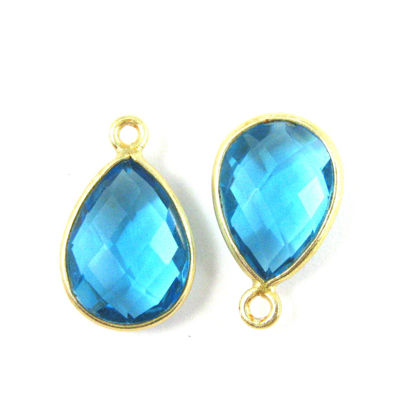 Wholesale Gold plated Sterling Silver Small Teardrop Bezel Blue Topaz Quartz Gemstone Pendant, Wholesale Gemstone Pendants for Jewelry Making