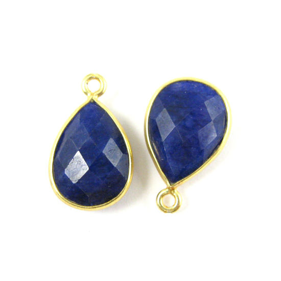 Wholesale Gold plated Sterling Silver Small Teardrop Bezel Blue Sapphire Dyed  Gemstone Pendant, Wholesale Gemstone Pendants for Jewelry Making