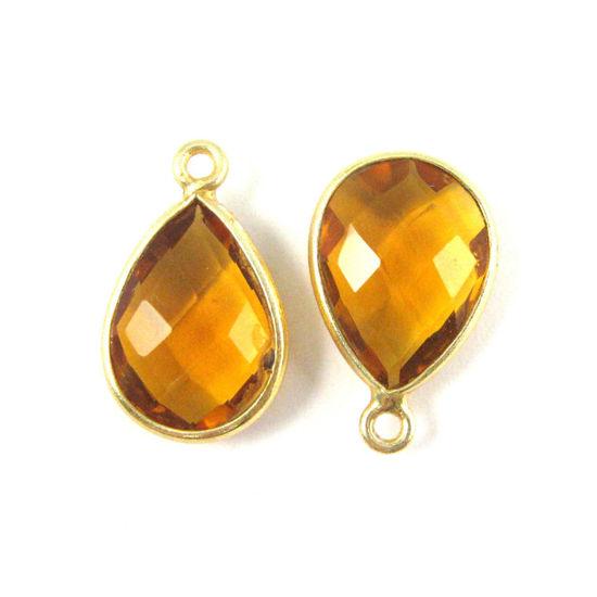 Wholesale Gold plated Sterling Silver Small Teardrop Bezel Citrine Quartz Gemstone Pendant, Wholesale Gemstone Pendants for Jewelry Making