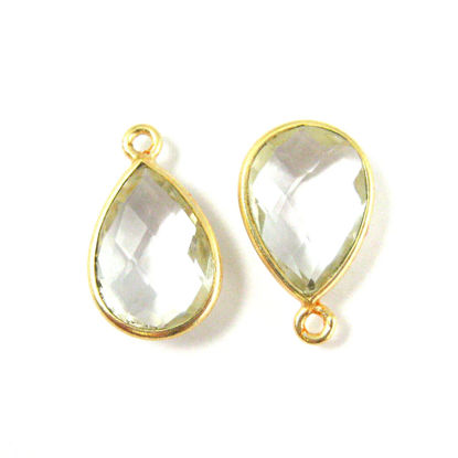 Wholesale Gold plated Sterling Silver Small Teardrop Bezel Crystal Quartz Gemstone Pendant, Wholesale Gemstone Pendants for Jewelry Making