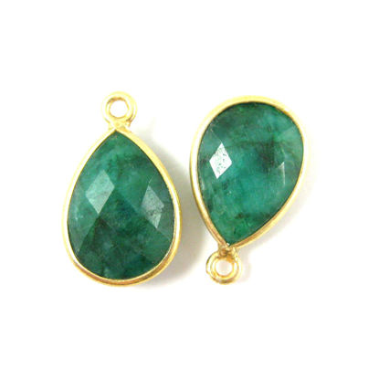 Wholesale Gold plated Sterling Silver Small Teardrop Bezel Emerald Dyed Gemstone Pendant, Wholesale Gemstone Pendants for Jewelry Making