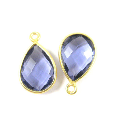 Wholesale Gold plated Sterling Silver Small Teardrop Bezel Iolite Quartz Gemstone Pendant, Wholesale Gemstone Pendants for Jewelry Making