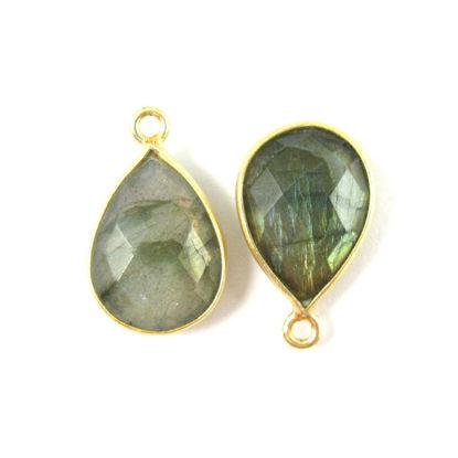 Wholesale 22K Gold Over Sterling Silver Bezel Gemstone Pendant - 10x14mm Faceted Small Teardrop - Labradorite
