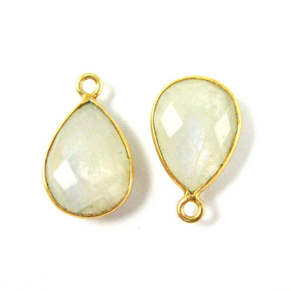 Wholesale Gold plated Sterling Silver Small Teardrop Bezel Moonstone Gemstone Pendant, Wholesale Gemstone Pendants for Jewelry Making