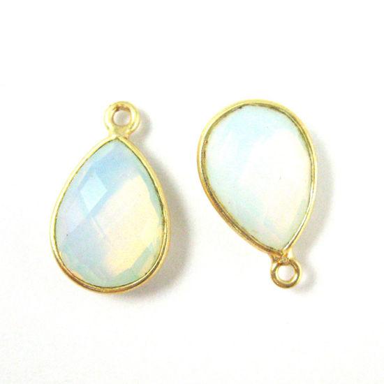 Wholesale Gold plated Sterling Silver Small Teardrop Bezel Opalite Quartz Gemstone Pendant, Wholesale Gemstone Pendants for Jewelry Making