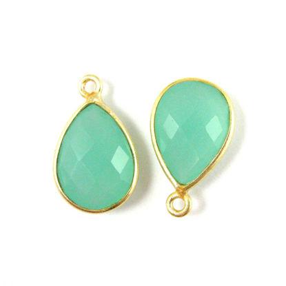 Wholesale Gold plated Sterling Silver Small Teardrop Bezel Peru Chalcedony Gemstone Pendant, Wholesale Gemstone Pendants for Jewelry Making