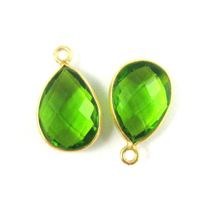 Wholesale Gold plated Sterling Silver Small Teardrop Bezel Peridot Quartz Gemstone Pendant, Wholesale Gemstone Pendants for Jewelry Making