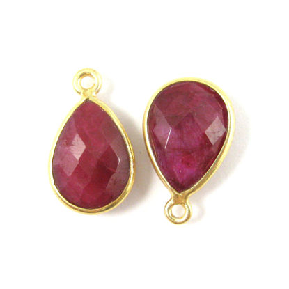 Wholesale Gold plated Sterling Silver Small Teardrop Bezel Ruby Dyed Gemstone Pendant, Wholesale Gemstone Pendants for Jewelry Making