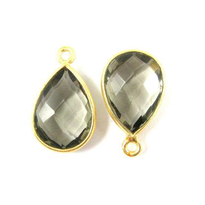 Wholesale Gold plated Sterling Silver Small Teardrop Bezel Smokey Quartz Gemstone Pendant, Wholesale Gemstone Pendants for Jewelry Making