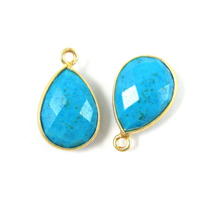 Wholesale Gold plated Sterling Silver Small Teardrop Bezel Turquoise Gemstone Pendant, Wholesale Gemstone Pendants for Jewelry Making