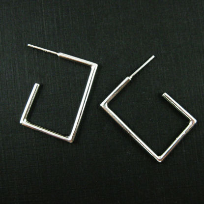 Wholesale Sterling Silver Large Square Earring Hoops - 28mm (1 pair )