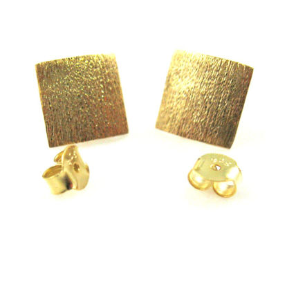 Wholesale 18K Gold Over 925 Sterling Silver Textured Square Ear wires - 10mm (1 pair)