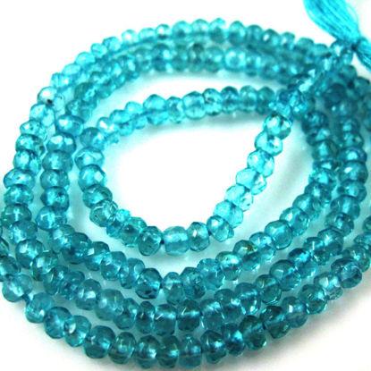 Wholesale Semi Precious Gemstones,Loose Gemstones,Gemstone Beads -- Apatite Micro Faceted Rondelle - 3-3.5mm - 13 inches