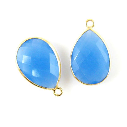 Wholesale Gold plated Sterling Silver Teardrop Bezel Blue Chalcedony Gemstone Pendant, Wholesale Gemstone Pendants for Jewelry Making