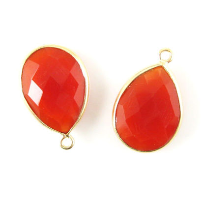 Wholesale Gold plated Sterling Silver Teardrop Bezel Carnelian Gemstone Pendant, Wholesale Gemstone Pendants for Jewelry Making