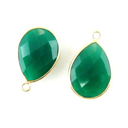 Wholesale Gold plated Sterling Silver Teardrop Bezel Green Onyx Gemstone Pendant, Wholesale Gemstone Pendants for Jewelry Making