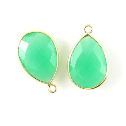 Wholesale Gold plated Sterling Silver Teardrop Bezel Prenite Chalcedony Gemstone Pendant, Wholesale Gemstone Pendants for Jewelry Making
