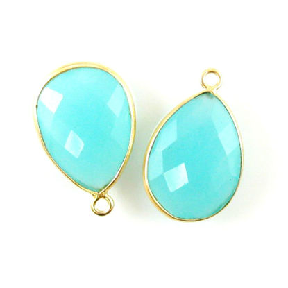 Wholesale Gold plated Sterling Silver Teardrop Bezel Peru Chalcedony Gemstone Pendant, Wholesale Gemstone Pendants for Jewelry Making