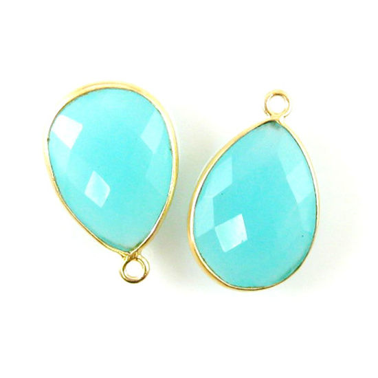 Wholesale Gold plated Sterling Silver Teardrop Bezel Peru Chalcedony Gemstone Pendant, Wholesale Gemstone Pendants for Jewelry Making