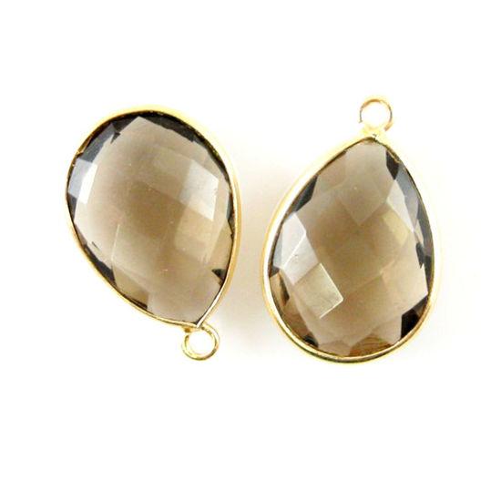 Wholesale Gold plated Sterling Silver Teardrop Bezel Smokey Quartz Gemstone Pendant, Wholesale Gemstone Pendants for Jewelry Making