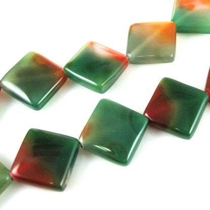 Wholesale Green and Orange Smooth Square Agate Beads (Sold Per Strand)