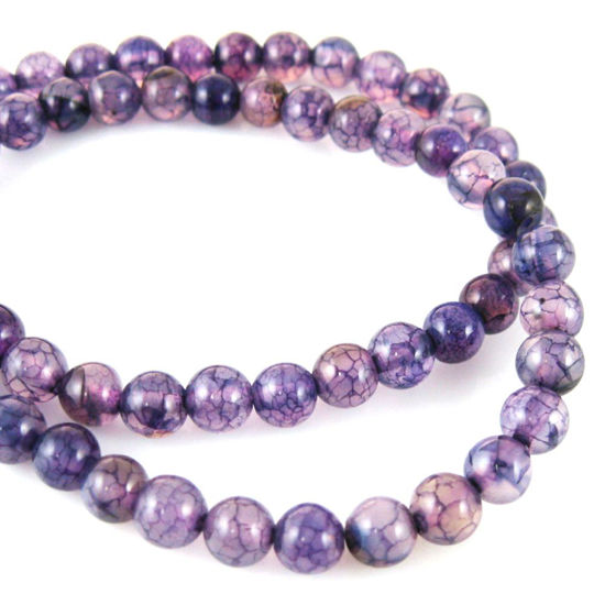 Wholesale Purple Dragon Vein Agate Beads - Smooth Round 6mm (Sold Per Strand)