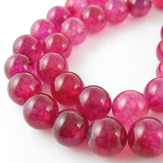 Wholesale Fuchsia Dragon Vein Agate Beads - Smooth Round 10mm (Sold Per Strand)