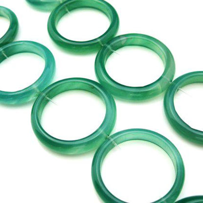 Wholesale Green Natural Agate - Big 35mm Ring (sold per strand)