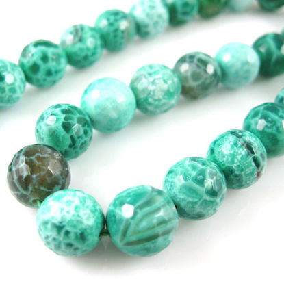 Wholesale Green Crackle Agate Beads - Faceted Round 10mm (Sold Per Strand)