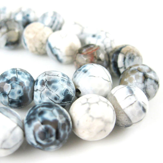 Wholesale Black and White Crackle Agate Beads - Faceted Round 10mm (Sold Per Strand)