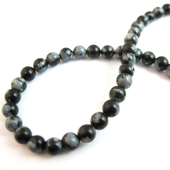 Wholesale Snowflake Agate Beads - Smooth Round 4mm (Sold Per Strand)