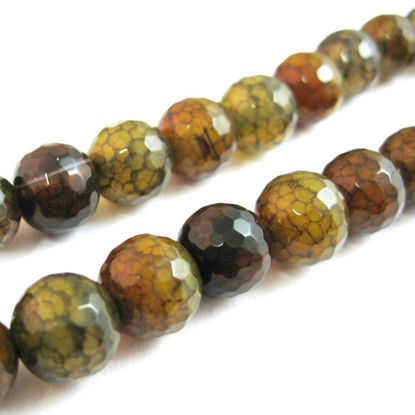 Wholesale Olive Green Crackle Agate Beads - Faceted Round 10mm (Sold Per Strand)