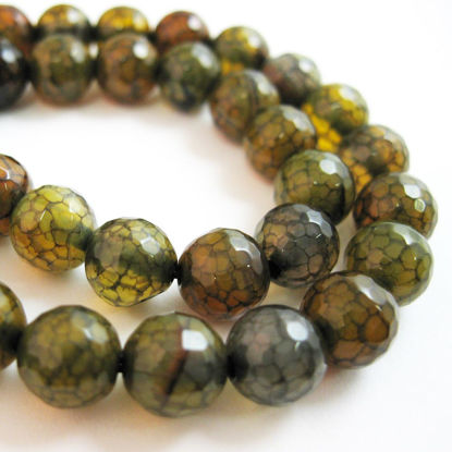 Wholesale Olive Green Crackle Agate Beads - Faceted Round 8mm (Sold Per Strand)
