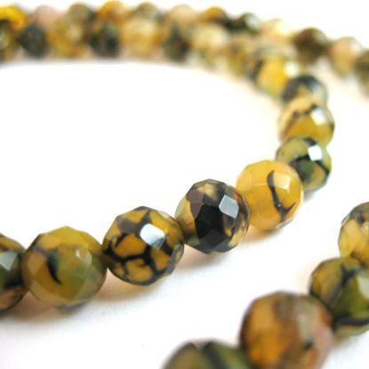 Wholesale Olive Green Crackle Agate Beads - Dragon Vein - Faceted Round 6mm (Sold Per Strand)