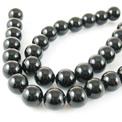Wholesale Black Onyx Beads - 10mm Smooth Round (Sold Per Strand)