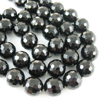 Wholesale Black Onyx Beads - 10mm Faceted Round (Sold Per Strand)