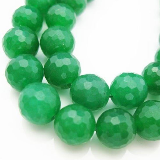 Wholesale Green Jade - Faceted Round 10mm (Sold Per Strand)