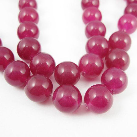 Wholesale Rose Red Jade Beads - 10mm Smooth Round (Sold Per Strand)
