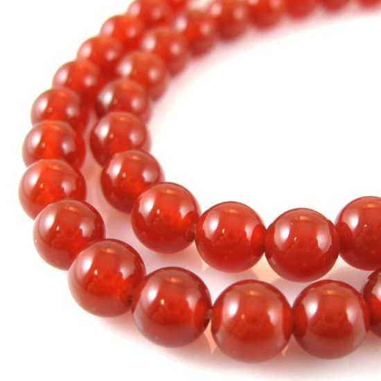 Wholesale Red Brown Jade Beads - 6mm Smooth Round (Sold Per Strand)
